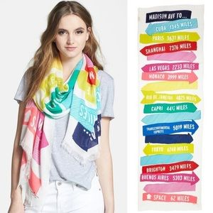 Kate Spade Madison Ave Travel Sign Post Scarf Wrap